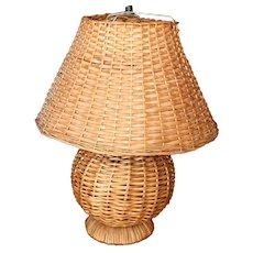 Mid Century Rattan Woven Lamp