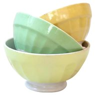 3 Vintage French Cafe au Lait Bowls - Digoin - Pastel Yellow and Green - Shabby and Country Kitchen