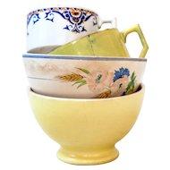 2 Vintage Cafe au Lait Bowls - 1950s - Country Shabby Kitchen -