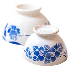 2 French Cafe au Lait Bowls - 1930s - Art Deco - Blue Flowers - French Country Kitchen