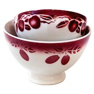 2 French Cafe au Lait Bowls - 1930s - Burgundy Cherries and Prunes - French Country Kitchen
