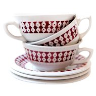 3 French Tea or Coffee Cups with Saucers - Badonviller - Ironstone and Transferware