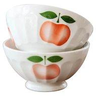 1940s French Cafe au Lait Bowl - Set of 2 - Sarreguemines - Cheerful Apple Design - Size 3