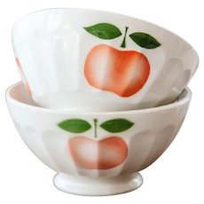 1940s French Cafe au Lait Bowl - Set of 2 - Sarreguemines - Cheerful Apple Design - Size 3