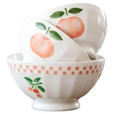 1940s French Small Cafe au Lait Bowls - Set of 3 - Sarreguemine - Cheerful Apple Design - Size 4 and 7
