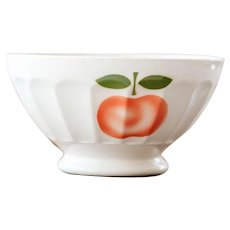 1940s French Cafe au Lait Bowls - XL Size - Sarreguemine - Cheerful Apple Design - Size 1