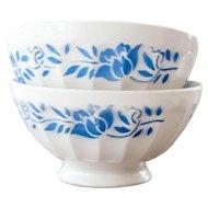 1940s French Cafe au Lait Bowls - XL Size - Set of 2 - Sarreguemine - Cheerful Blue Flower - Size 1