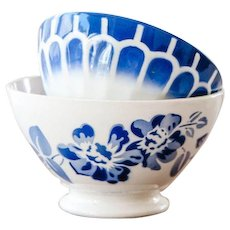1940s French Cafe au Lait Bowls - Set of 2 - Digoin & Sarreguemine - Cheerful Blue Flowers and Geometrical Pattern - White and Blue