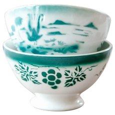 940s French Vintage Cafe au Lait Bowls - Set of 2 - Sarreguemine - Pretty Green Pattern - French Shabby Chic Kitchen Decor