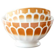 1950s French Vintage XL Cafe au Last Bowls - Set of 2 - Sarreguemine - Brown and White Geometrical Pattern - Size 1 & 2