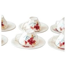 1940s French Vintage Cafe Demitasse Cup with Saucer - Digoin Sarreguemines - Set of 6 - Pretty Iris Pattern