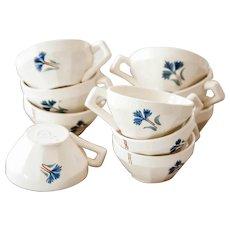1950s French Vintage Cafe Demitasse Cups - Moulin des Loups - Set of 10 - Pretty Cornflower Pattern