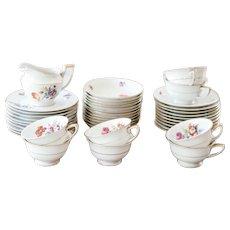 1940s German Porcelain Tea or Coffee Set - Heinrich H&Co - 8 Teacups and saucers, Dessert and Fruit Salad Plates - 41 pieces