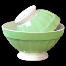 1940s French Cafe au Lait Bowls - Set of 2 Digoin Sarreguemines Bowls - Pretty Pistachio green