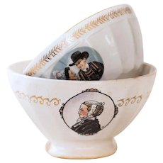 2 Vintage French Cafe au Lait Bowl - French Country Kitchen - Brittany Design - Sarreguemines and Gien