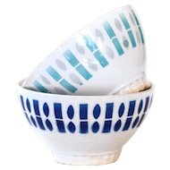 1950s French Cafe au Lait Bowls - Set of 2 - Badonviller White and Blue