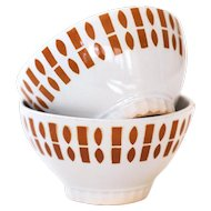 1950s French Cafe au Lait Bowls - Set of 2 - Badonviller White and Brown