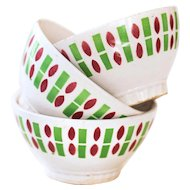 1950s French Cafe au Lait Bowls - Set of 3 - Badonviller White, Green and Burgundy