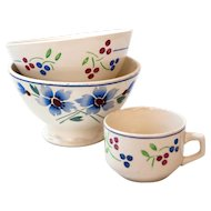 2 French Vintage Cafe au Lait Bowls - 1940s - French Country Kitchen Decor