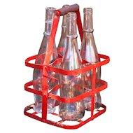 Vintage French Red 4 Bottles Metal Carrier