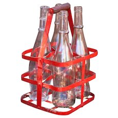 Vintage French Red 4 Bottles Metal Carrier