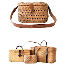 Early 1900s French Wicker / Raffia and Leather Handwoven Children Waist Basket - Provence / Country