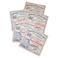 Vintage French Cheese Label - Set of 5 - Unused - Shabby Craft Projects or Food Gift Decor
