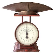 1910s Prudential Family Scale - Rusty Red with Front Glass and Brass Scoop - American Cutlery