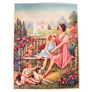 "1920s Color Print - Lithography - Very pretty Color - Mother and Children - 20"" x 15"""