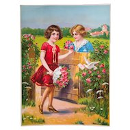 "1920s Color Print - Lithography - Pretty Color - Valentine's Day - Sweetheart Roses & Children - 20"" x 15"""