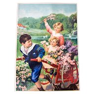 "1920s Color Print - Lithography - Pretty Color - Spring Scene - Children playing Flowers and Wagon- 16"" x 12"""