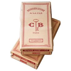 Vintage French Boxes with 22 Darning Thread Bobbins by Cartier - Bresson Paris - Repriser Lustre - Set of 2