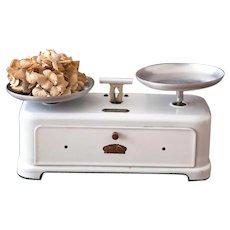1950s French Enamel Kitchen Scale - White Enamel Kitchen Scale - 5 Kilos Strength - Balance de Menage