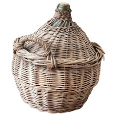 French DemiJohn with Hand Weaved Basket - Green Blown Glass Bottle - From Provence