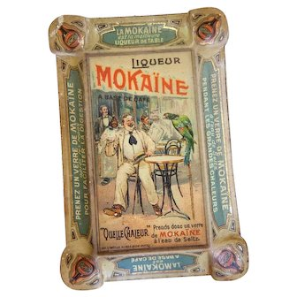 Early 1900s French Embossed Tin Ashtray - Liqueur Mokaine - French Advertising