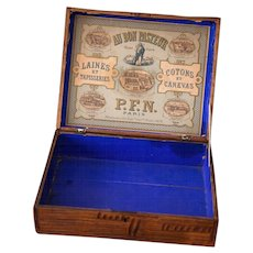 Early 1900s French Wooden Retail Box - Au Bon Pasteur - Wool and Threads - Au Bon Pasteur