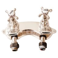 1930s French Chromed Metal Bath Faucet Spigot - Mains Water Tap Plumbing - Hot Cold Chaud Froid