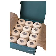 1960s French Cotton Crochet Thread Box - Box of 12 Balls - DMC - Pretty Turquoise Box