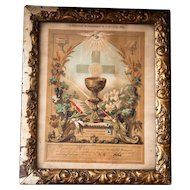 1880s First Holy Communion and Confirmation Certificate - Printed in France - Shabby Chic Decor