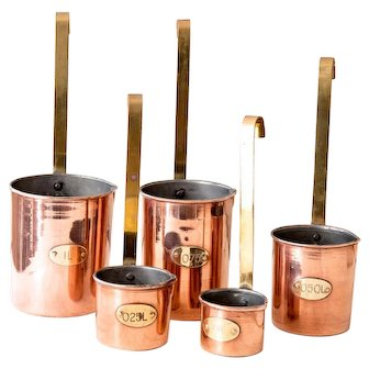 Vintage Copper Measuring Cups - Copper and Brass - Country Chic Kitchen