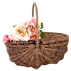 Vintage French Small Willow Basket - Fruit Gathering, Mushroom Picking or Picnic Basket - French Cottage Decor