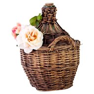 Antique French DemiJohn with Hand Weaved Basket - Green Blown Glass Bottle - Small Size - From Provence - French Cottage Decor