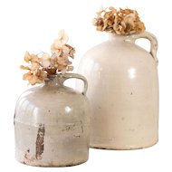 2 Antique Stoneware Jug - Early 1900s - 1 and 2 gallons - Antique Crocks - Farmhouse Deco