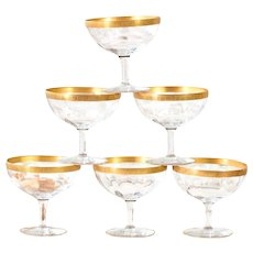 Vintage Dessert Coupe Glasses - Fluted Coupe with Golden Rim - Set of 12 - Shabby Chic Table