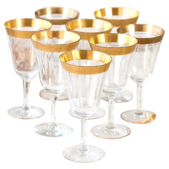 8 Vintage Fluted Glasses with Golden Rim - Wine or Water Glasses - Shabby Chic Table