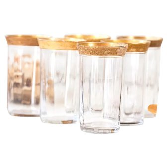 6 Vintage Fluted Glasses with Golden Rim - Wine or Water Tumblers - Shabby Chic Table