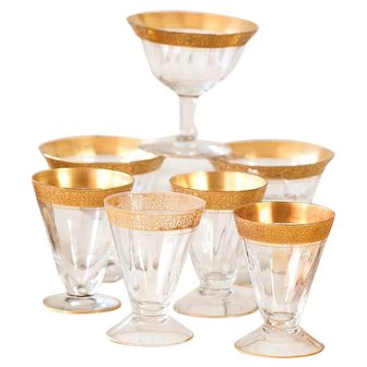 7 Vintage Fluted Glasses with Golden Rim - Mismatched - Wine or Liquor Glasses - Shabby Chic Table