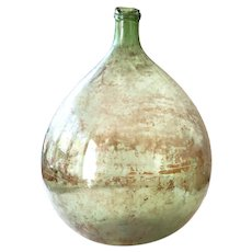 French Blown Glass XL Demi-John Demijohn Green - Dame Jeanne - 30 Liters Capacity - Country Chic Decor