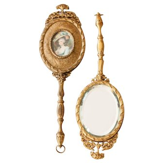 Exceptional French Louis XV Hand Mirror - French Rococo Hand Mirror - Brass and Heavy Beveled Glass - Sold Individually