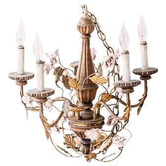 Vintage Italian Gilt Tole Chandelier with Ceramic Rose - French Shabby Chic or Hollywood Regency Decor - In Working Condition